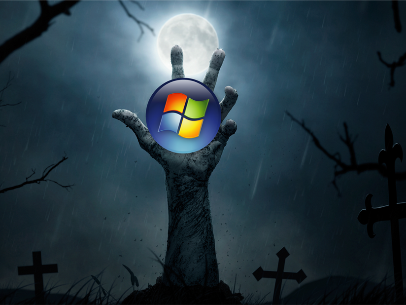 Zombie Hand and Windows 7 Logo