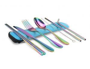 KISSWILL Travel Utensils, 8 Pieces including Knife Fork Spoon Chopsticks Cleaning Brush Straws Portable Case, Camping Silverware with Case, Dishwasher Safe
