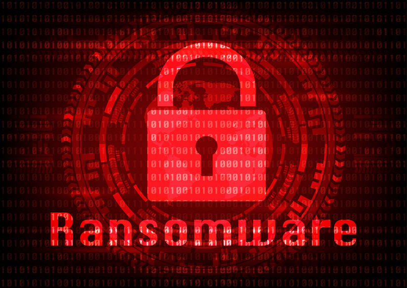 Abstract Malware Ransomware virus encrypted files with key on binary bit background. Vector illustration cybercrime and cyber security concept.